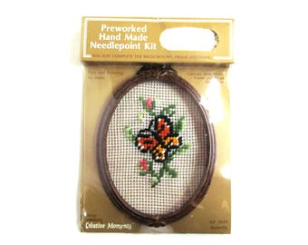 Vintage Preworked Hand Made Needlepoint Kit, Butterfly, Includes Frame