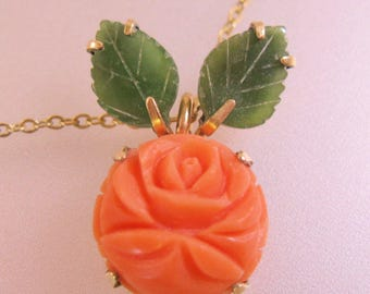 KREMENTZ Salmon Coral & Jade Hand Carved Rose Pendant Necklace Vintage Jewelry Jewellery