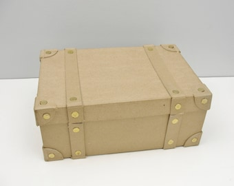 Paper mache trunk box with straps