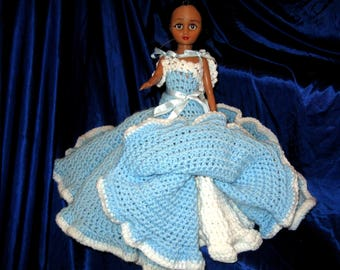 Vintage BLUE Crocheted DOLLDRESS, Indian Doll, Hand crafted, White trim, Petticoats, Southern Belle, Quinceanera, Sweet 16, Blue Dress