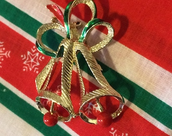 Vintage 60s Gold tone Red Green Enamel Christmas Bells Ladies Brooch Pin Holiday Gift for Her