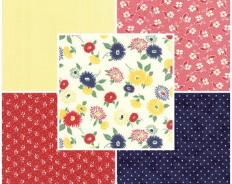 SALE!!! American Jane... FRESH AIR .. Moda fabrics.. 5 Fat Quarter Bundle ...  Primary Palette Red, Yellow, Blue
