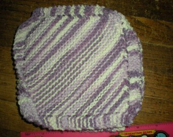 Hand Knit Dishcloth 100% Cotton Homemade Washcloth Purple/White variegated