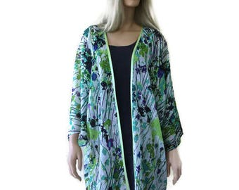 Green floral kimono with subtle sequins and wide sleeves/ Classic Kimono cardigan-floral kimono jacket slightly sequined-chiffon kimono