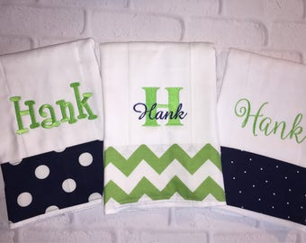Personalized Burp Cloths Set of 3. Favorite baby shower gift for new mother!  Premium cloth diaper in choice of theme monogrammed name