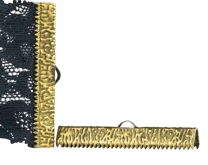 16pcs.  40mm ( 1 9/16 inch ) Antique Bronze Ribbon Clamp End Crimps - Artisan Series
