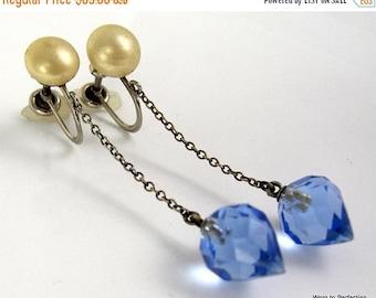 45% off Sale Art Deco Long Dangling Blue Glass Earrings