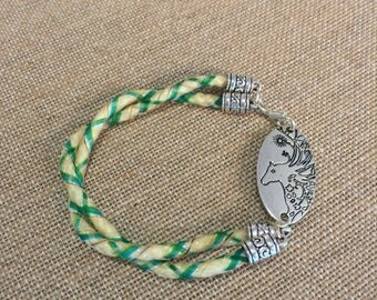 8.5 Inch Double Twist Braided Horse Hair Jewelry Horsehair Bracelet With Art Nouveau Charm - 6MM Basketweave Braid