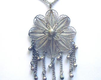 Cannetille Sterling Silver Filigree Vintage Necklace Floral Wire Beaded Jewelry Sterling Chain