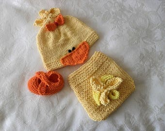 Hand Knitted Baby HAT and  DIAPER COVER Baby Duck Beanie and Diaper cotton knitted baby hat Rubber Ducky Baby Hat Knitted Baby Beanie