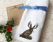 Flour Sack Towel Jackalope Western Country Kitchen Decor Native American Embroidered