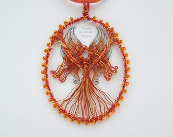 Flame Goddess pendant, goddess of fire, flame pendant, goddess necklace, fairy necklace, fire necklace, flames, orange pendant, mythical