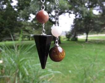 Nuummite Pendulum, Moonstone,Sunstone, Tiger's Eye, Sterling Chain, Made during the Eclipse