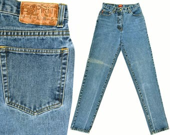 Esprit High Waist Jeans 80s Vintage High Waisted Jeans Womens Esprit Jeans Slim Fit & Taper Leg Jeans Distressed Faded 80s Mom Jeans 28 W