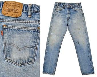 1970s Destroyed Levis Jeans Levi Vintage 505 High Waisted Jeans Distressed Levis 505 Straight Leg Jeans Orange Tab Levis Jeans Mens 32 W