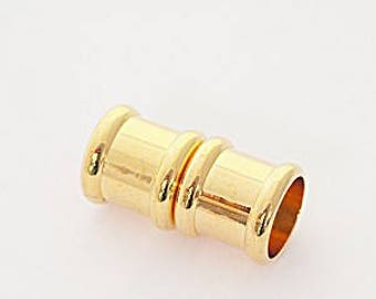 8 Millimeter End Caps, Gold Tone Plated Magnetic End Cap, Glue in End Cap, Cord Ends