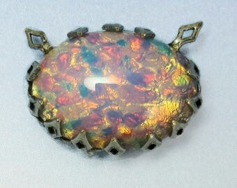 Pink Harlequin Opal Vintage Glass Cabachon in setting D-32
