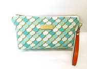 Green Mermaid Scales - Medium Clutch with brass zipper and leather strap - 11x 5 x 2