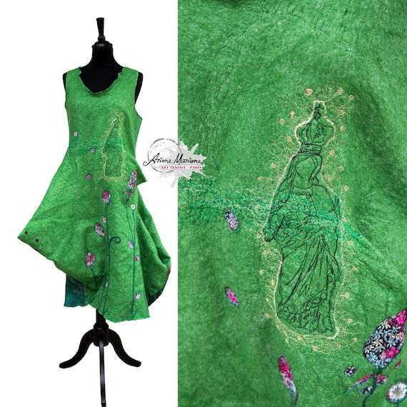 Reversible Wearable Art Dress - Merino Wool Silk Nuno Felt - Deconstructed Women Garment - Art Statement Made in France Paris Designer