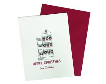 Box of 8 Charleston Christmas Card, Charleston Card, Charleston Holiday Card, Christmas Card, Holiday Card, Southern Christmas Card