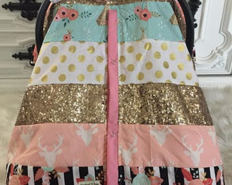 CAR SEAT COVER , custom patchwork , gold sparkle , gold car seat canopy  , custom design you pick fabrics