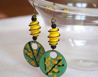 SALE Tree Earrings, Green Enameled Earrings, Yellow Lampwork Earrings, Summer Earrings, Abstract Earrings, Woodland Earrings