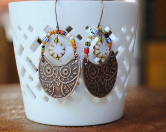 Copper Owl Earrings, Autumn Woodland Earrings, Boho Chic Earrings, Bird Earrings, Wise Owl Earrings, Rustic Ethnic Earrings, Colorful