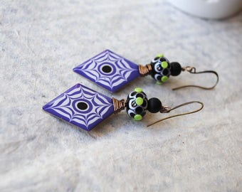 Halloween Earrings, Spider Web Earrings, Purple Earrings, Floral Earrings, Whimsical Earrings, Lampwork Bead Earrings, Pebeo Jewelry