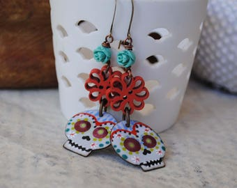 Sugar Skull Earrings, Skull Earrings, Halloween Earrings, Day of the Dead Jewelry, Artisan Enamel, Flower Earrings, Calaveras, Spooky