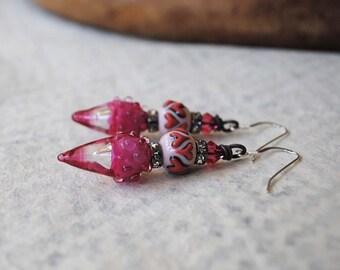 Pink Heart Earrings, Valentine's Day Gift, Lampwork Glass Earrings, Teardrop Earrings, Sparkling Romantic Earrings, Valentine Jewelry