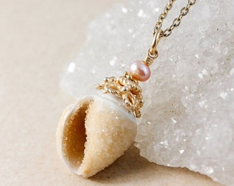 ON SALE 50% OFF Sale - Golden Druzy Seashell & Pearl Necklace - Choose Your Pendant - 14Kt Gf