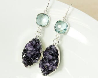 50% OFF SALE - Silver Aqua Quartz and Violet Purple Druzy Leaf Earrings - Druzy Earrings - 925 Silver