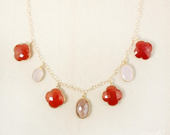Gold Peach Moonstone, Pink Chalcedony, and Orange Carnelian Bib Necklace - 14Kt Gold Filled - Statement Necklaces