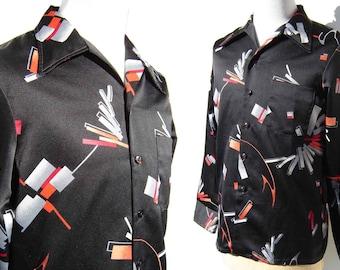 Vintage 70s Disco Shirt Mod Abstract Print by Mr. Jan - L