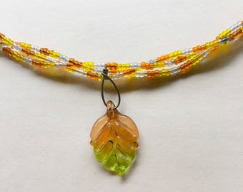 "Fall Leaf Beaded Multi-strand Necklace 18"""