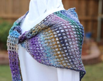 Crocheted Wrap, Women's Crocheted Scarves, Purple Crochet Shawl, Blue Shawls, Blue Crocheted Wrap