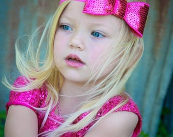 Hot Pink Sequin Hair Bow, Large Sequined Hot Pink Hair Bow Stretchy or Hard Headband, Infant Baby Toddler Child Girls Headband