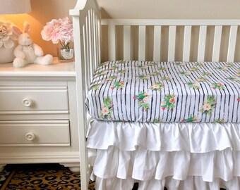 cactus floral knit bumperless bedding crisp white bumperless crib bedding cactus watercolor floral baby