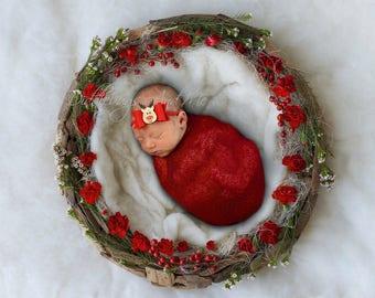 Reindeer Headband, Red Felt Bow, Baby Christmas Headband, Holiday Bow, Infant Headband, Gold Reindeer, Toddler Headband, Red Bow Headband