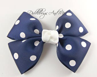Navy Polka Dot Hair Bow, 4 Inch, School Barrettes, Hair Bow For Girls, Easter Hair Bows, Toddler Barrettes, Polka Dot Bows, Pig Tail Bows
