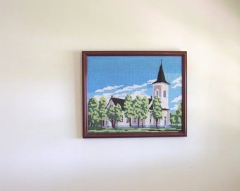 SALE SALE SALE Vintage Needlepoint Crewel Embroidered Wall Hanging Art Church Steeple Trees Sky Clouds Framed Finland Home Decor
