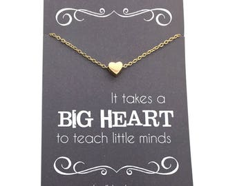 """Teacher gifts - Tiny Gold or Silver Heart  or Apple Necklace - Teacher appreciation carded gift """"It takes a big heart to teach little minds"""""""