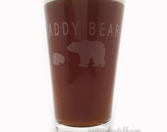 Daddy Bear #1 Dad Pint Glass Fathers Day Gift From Kids Pint Glass Keepsake Dad With Cubs