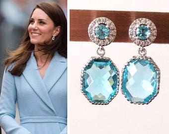 Kate Middleton Sterling Silver Aquamarine Cubic Zirconia Halo Gemstone Drop Earrings