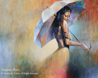 Abstract Figure Art • Figure Painting Reproduction • SUMMER RAIN • Contemporary Woman Fine Art Print • Figurative Art •  Umbrella Art
