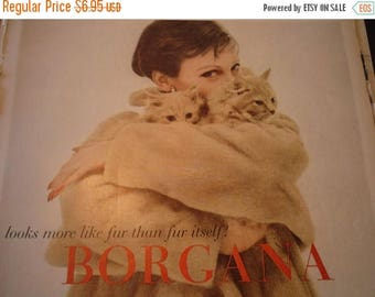 ON SALE Vintage Ad - - Faux Fur and Cats from the Fifties - - 1950s original ad - Borgana Beauty