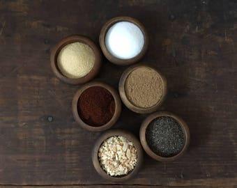 Wooden Spice Bowls, Solid Wood, Salt Cellar, Pepper Cellar, Shabby Chic Bowls, Rustic Kitchen, Cottage Kitchen, Woodland Kitchen, Cabin