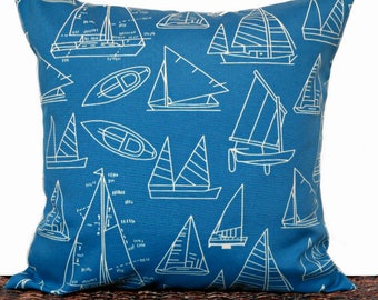 Blue Sailboats Outdoor Pillow Cover Cushion Nautical Periwinkle Beige Beach Man Cave Decorative 18x18
