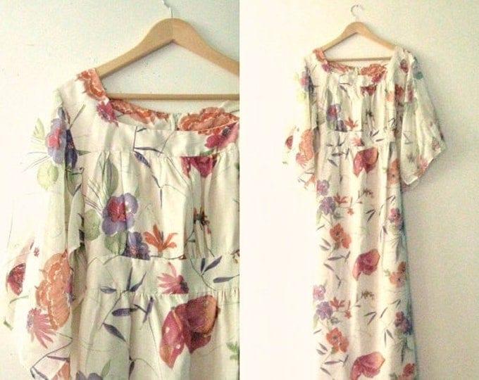 WINTER SALE Vintage 70s maxi dress / gauze floral butterfly watercolor print dress / Hippie Boho maxi dress