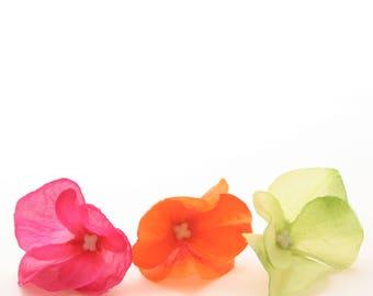 75 Hydrangea Blossoms -  Pink, Orange, and Green Medley- Artificial Flowers, Silk Blossoms, Scrapbook Flowers